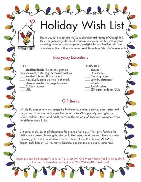 Wish List Ideas - wish list drives ronald mcdonald house of chapel