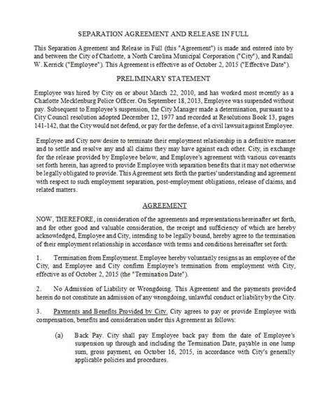 Free Separation Agreement Template Nc Ghostclothingco Separation Agreement Template Nc