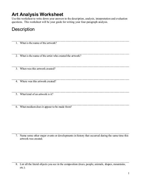 Criticism Worksheet by Artwork Analysis Worksheet