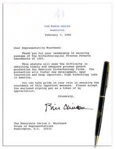 lot detail bill clinton signed letter as president