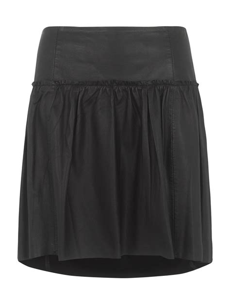 caroli fitted leather skirt in black