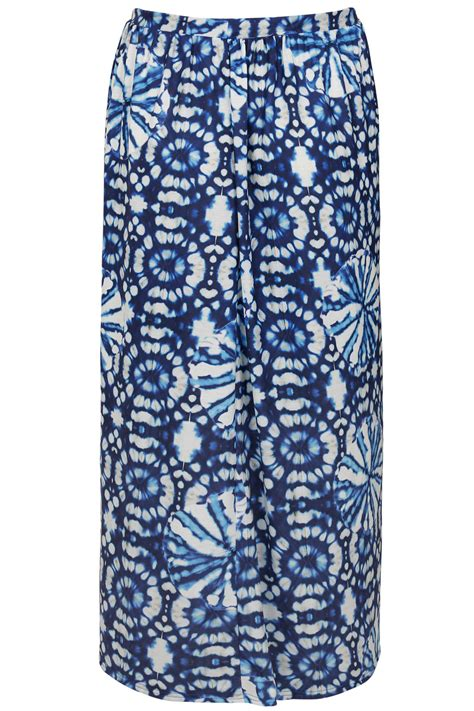 blue white circle tie dye print jersey maxi skirt plus