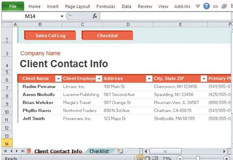 Sales Call Log Organizer For Excel Client List Excel Template