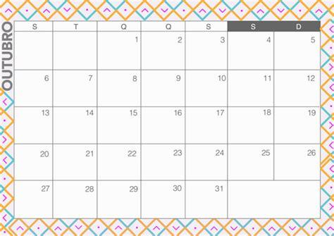 Calendario Mensal Calendario Outubro 2015 Calendar Template 2016