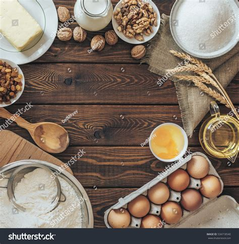 Kitchen Dough Recipes Bakery Recipe Text Background On Rustic Stock Photo