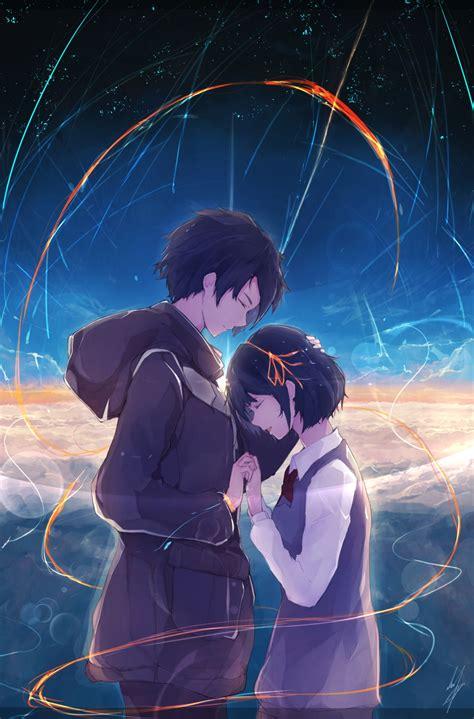 wallpaper anime romance android download 750x1334 kimi no na wa tachibana taki miyamizu