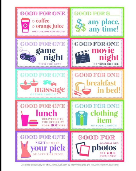 printable vouchers for husband fathers day coupon gifts ideas pinterest coupons