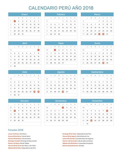 Calendario Octubre 2018 Calendario Per 250 A 241 O 2018 Feriados