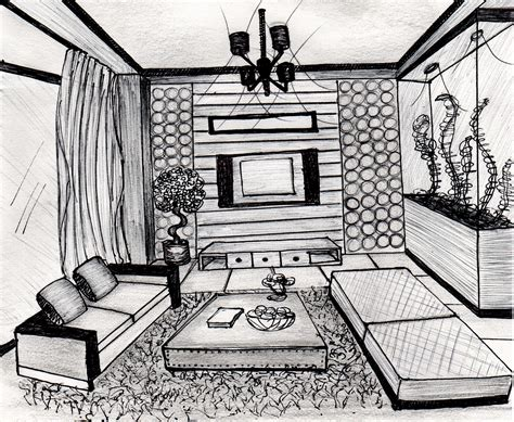 room sketch freehand sketching rendering by patricia alvarenga at