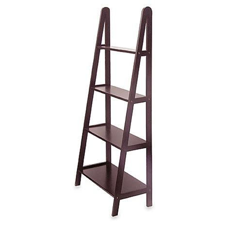 A Frame Ladder Bookcase Espresso Four Shelf A Frame Bookcase Bed Bath Beyond