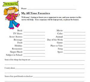 About Me Template For Students by Classroom Freebies All About Me Student Survey