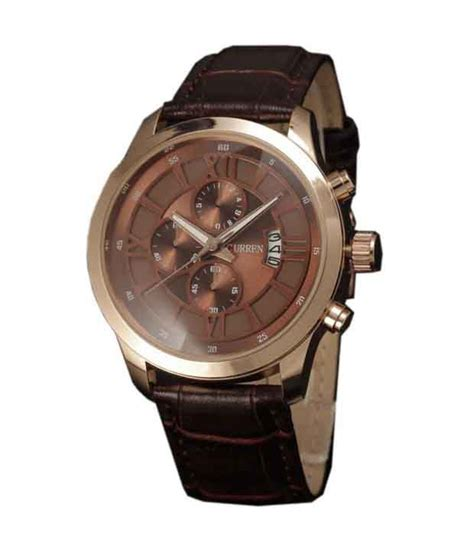 Ac 8492 Rosegold Brown Leather curren brown leather gold buy curren brown leather gold