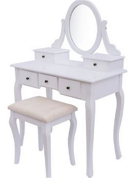 White Vanity With White Top Dressing Tables Homcom Antique Style Shabby Chic Dressing