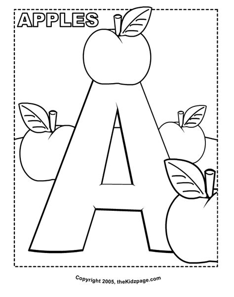 Free Coloring Pages Alphabet a is for apples free coloring pages for printable colouring sheets