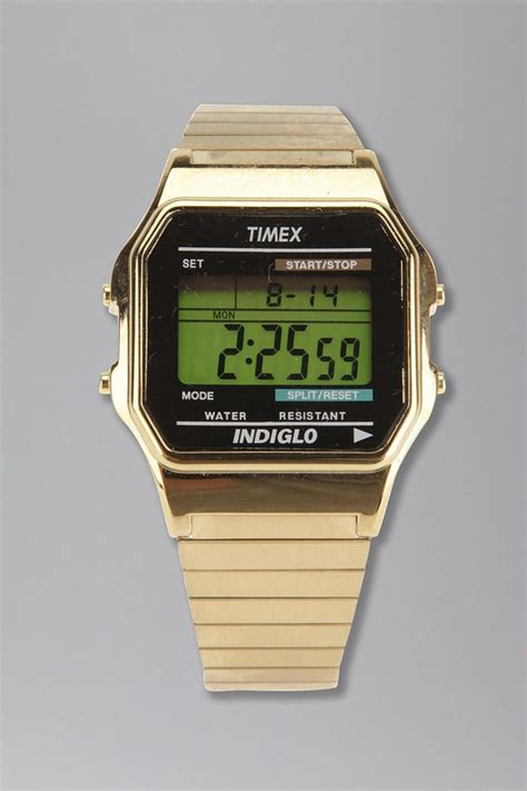 timex gold digital