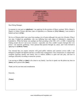 library assistant cover letter template