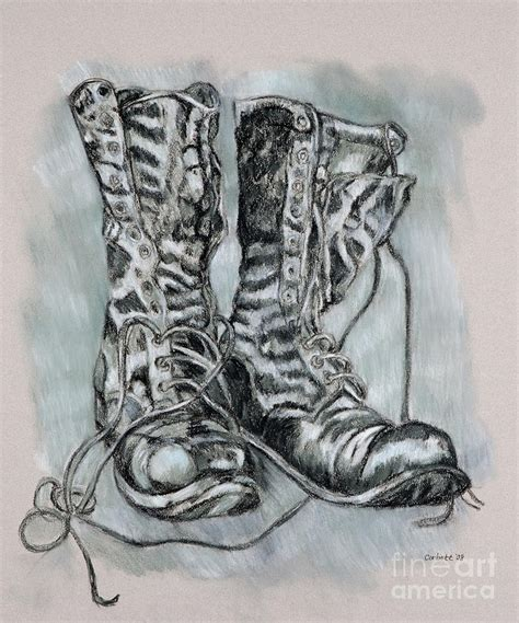 combat boots drawing by leisa shannon corbett