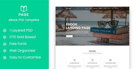 page ebook selling landing page psd template extheme net