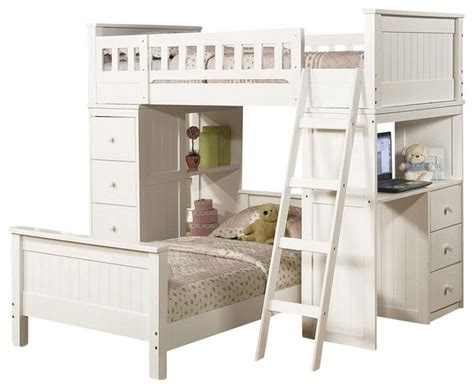 Loft Bed With Drawers And Desk by White Finish Wood Loft Bunk Bed Set With Desk And Drawers