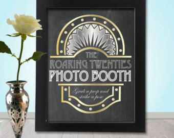 printable great gatsby photo booth props items similar to roaring 20 s photo booth party props