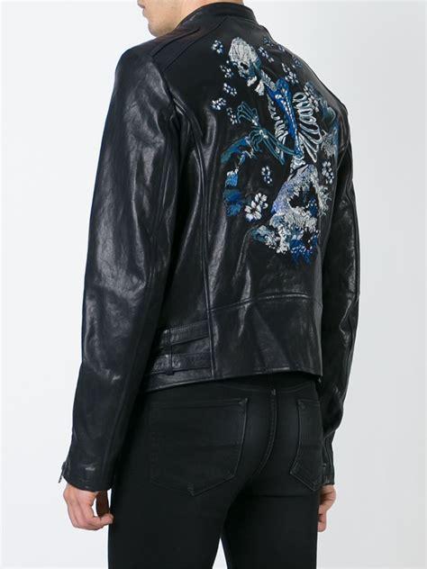 diesel black gold embroidered leather jacket  black