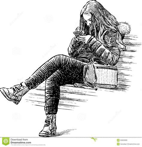 fille sur un banc de stationnement photo stock image