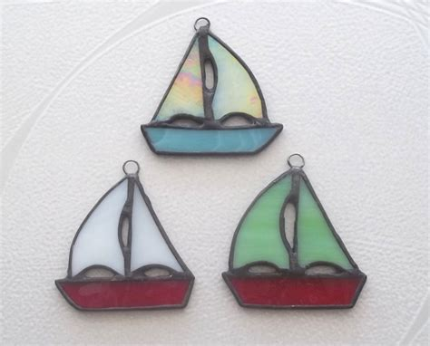 sailboat ornament set 3 stained glass ornaments or package