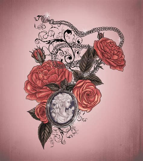 rose heart locket tattoo with geraldine 8