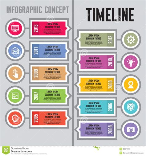 timeline business card template infographic vector concept in flat design style timeline