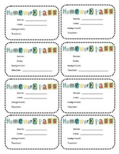 Classroom Passes On Pinterest Homework Filing Cabinets And Easter Class Pass Template