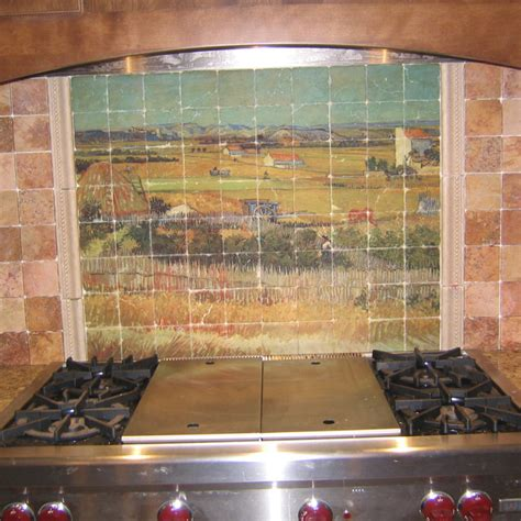 gogh marble tile mural in rustic kitchen backsplash