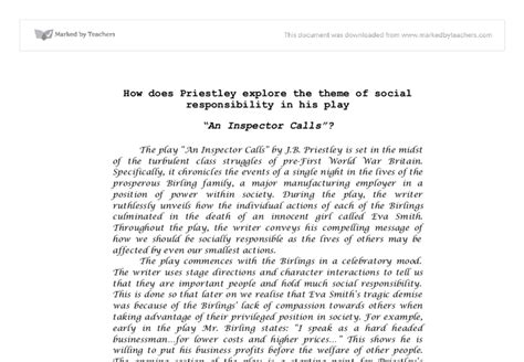 themes and issues in an inspector calls theme of responsibility in an inspector calls essay an