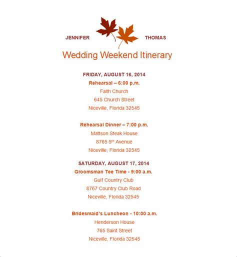 Wedding Itinerary Template 11 Free Word Pdf Documents Download Free Premium Templates Wedding Itinerary Template