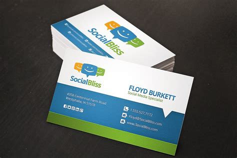 business cards with social media icons template social media business card business card templates