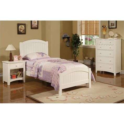 Furniture Youth White Bedroom Set by Poundex 3 Size Bedroom Set In White Finish