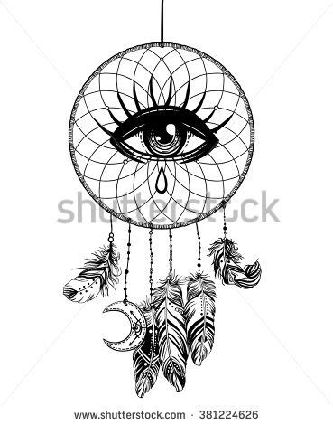 coloring pages moon dreamcatcher hand drawn native american indian talisman stock vector