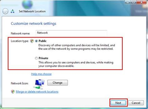 changing the network location type in windows vista