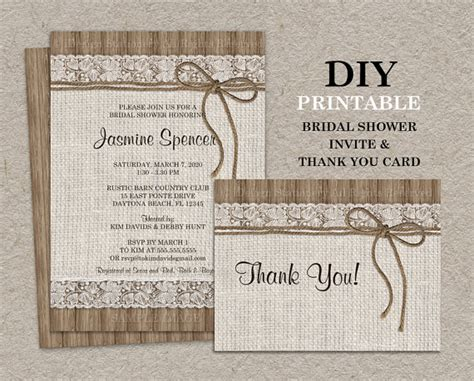 rustic bridal shower diy rustic bridal shower invitation set with thank you card diy