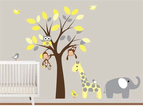 wall sticker baby baby boys vinyl wall decals tree with safari birds owls