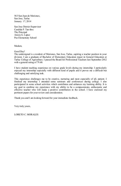 In Letter Loreto Updated Application Letter