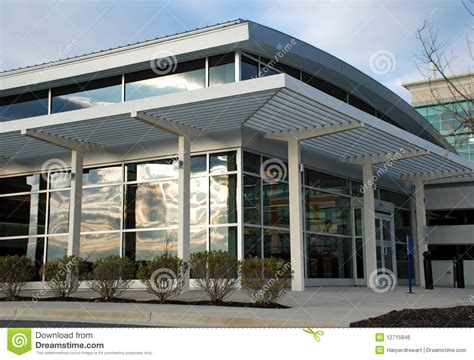 Vintage Metal Awnings Modern Office Building Storefront Royalty Free Stock Image