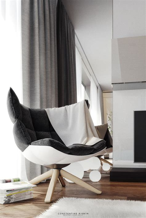 Stylish Chairs For Living Room Living Room Grey Modern Chair White Painted Wooden Legs Magazine Towel Fur Rug Curtain