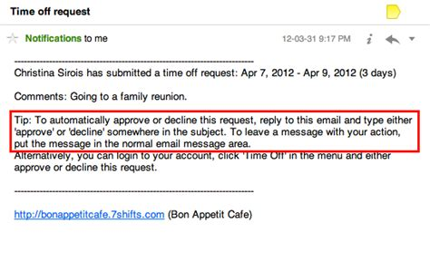 Approve Requests From Your Email 7shifts Request Time Email Template