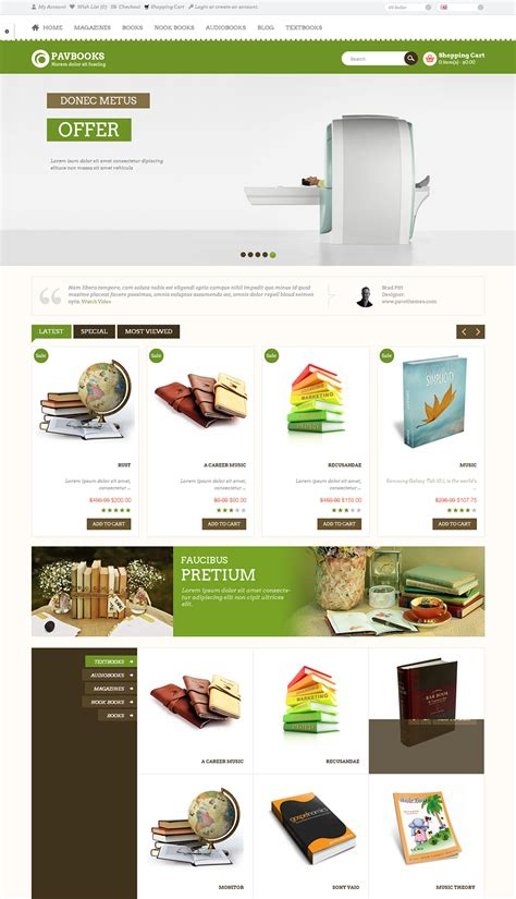 Opencart Bookstore Template by Bookstore Open Cart Website Templates Themes Free