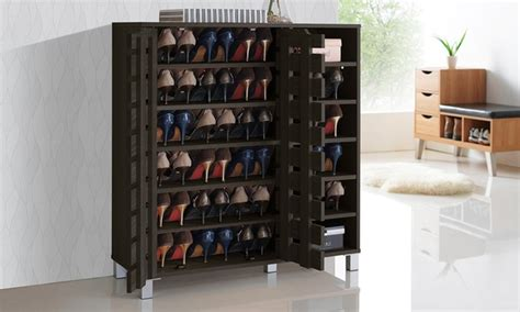 Garage Cabinets For Shoes Shirley 2 Door Wood Shoe Cabinet With Open Shelves Dealfaves