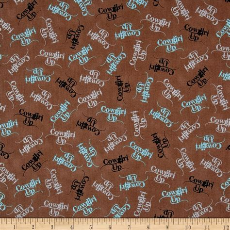 western print upholstery fabric cowgirl up words brown discount designer fabric fabric com