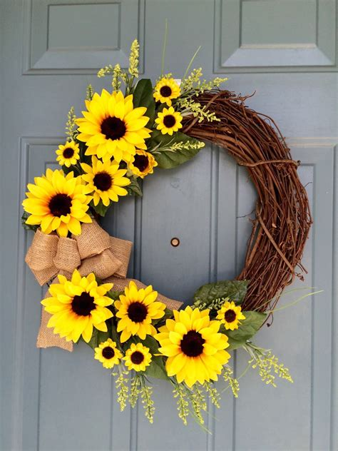 sunflowers decorations home sunflower front door wreath sunflower wreath spring