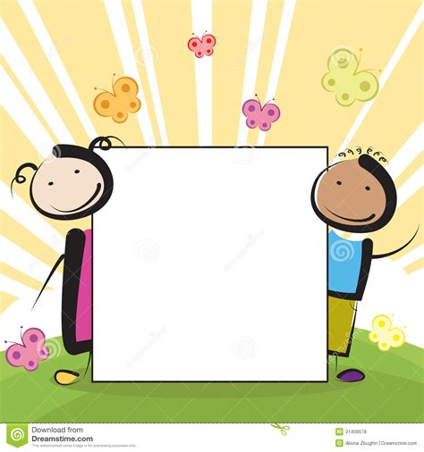 Paper With Children - with banner stock vector image of baby drawing