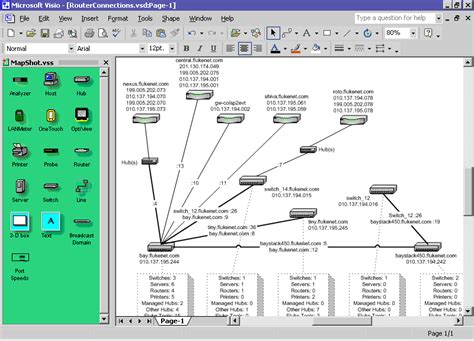 visio network map fluke networks study