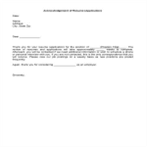 Acknowledgement Letter Receipt Of Resume Acknowledgement Of Resume Or Application Business Templates Forms